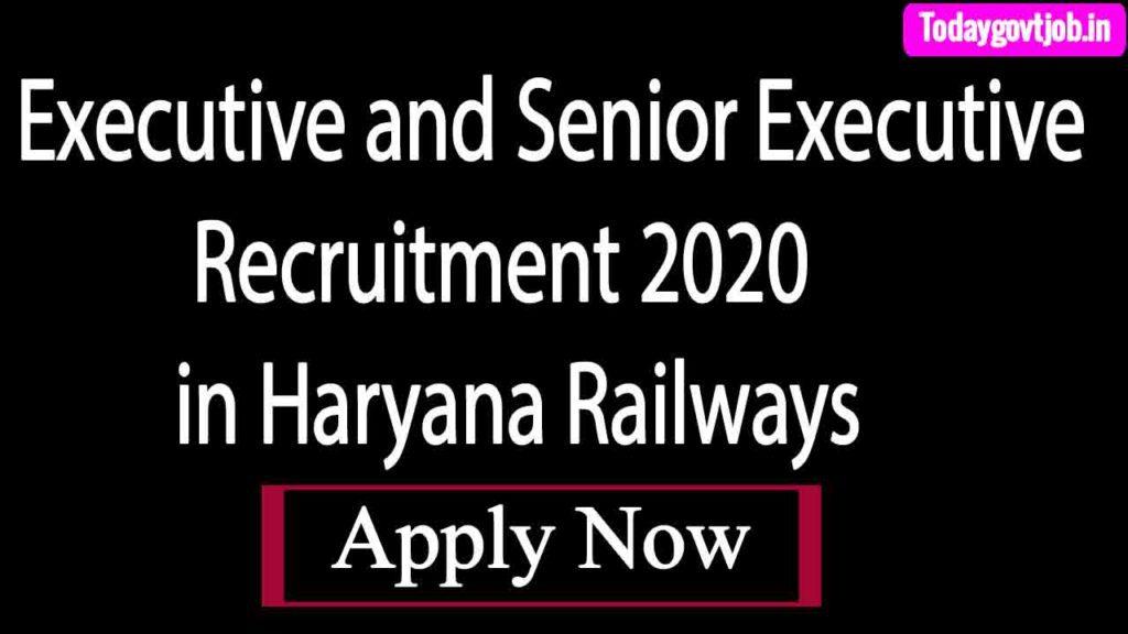 Executive and Senior Executive Recruitment 2020 in Haryana Railways .HRIDC