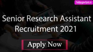 Senior Research Assistant Recruitment 2021